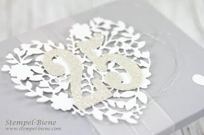 Geschenkbox silberne Hochzeit; Hochzeitsgeschenk; stampin up geschenkschachtel; Boxrechner Umschlagsboard; stempel-biene