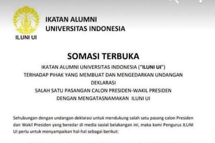 NAHLOH!!! Iluni UI Bantah Deklarasi Dukung Jokowi-Ma'ruf