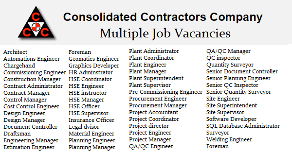 Consolidated Contractors Company Job Openings