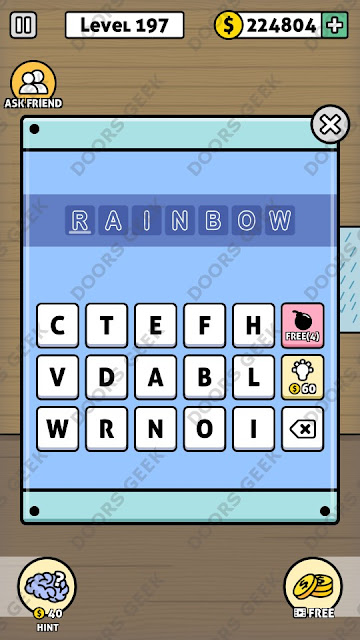 The answer for Escape Room: Mystery Word Level 197 is: RAINBOW