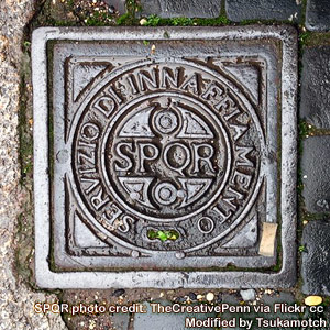SPQR~Roman drain cover - was the sign of the ancient Romans too photo credit by TheCreativePenn