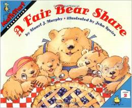 http://www.amazon.com/Fair-Bear-Share-MathStart/dp/0064467147/ref=sr_1_1?ie=UTF8&qid=1402865220&sr=8-1&keywords=fair+bear+share
