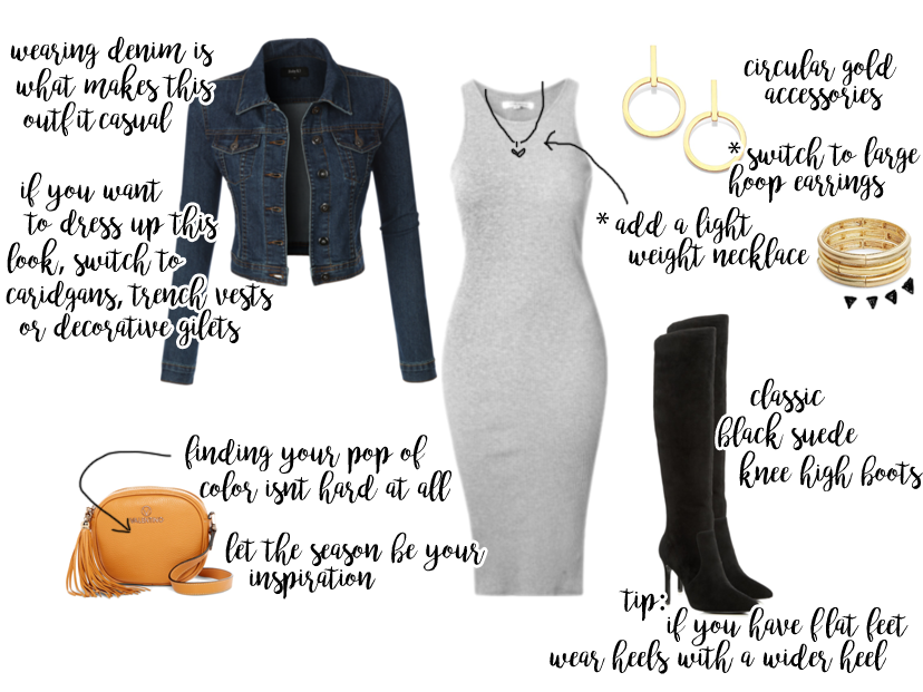 A quick weekender look that features denim and a form fitting body con nidi dress for the Fall season.
