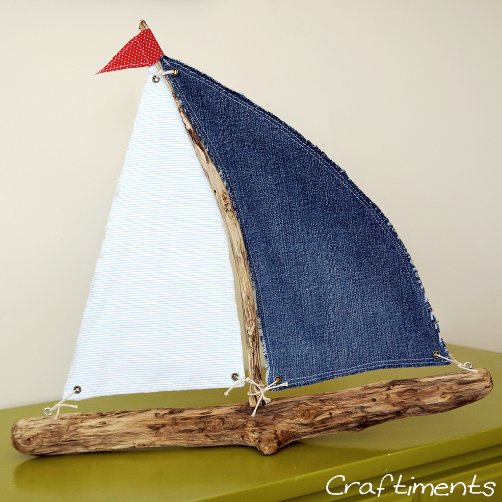 Craftiments:  Red, white, and blue driftwood sailboat