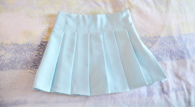 0370ea90f1 Details on the pastel light blue pleated tennis skirt from Fusion Republic;  design similar to