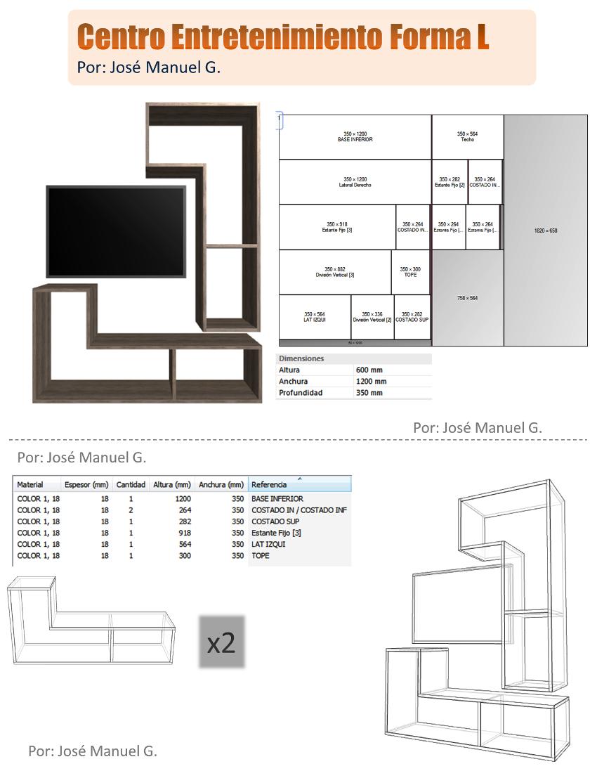 Dise o de muebles madera centro de entretenimiento forma for Diseno de muebles 3d