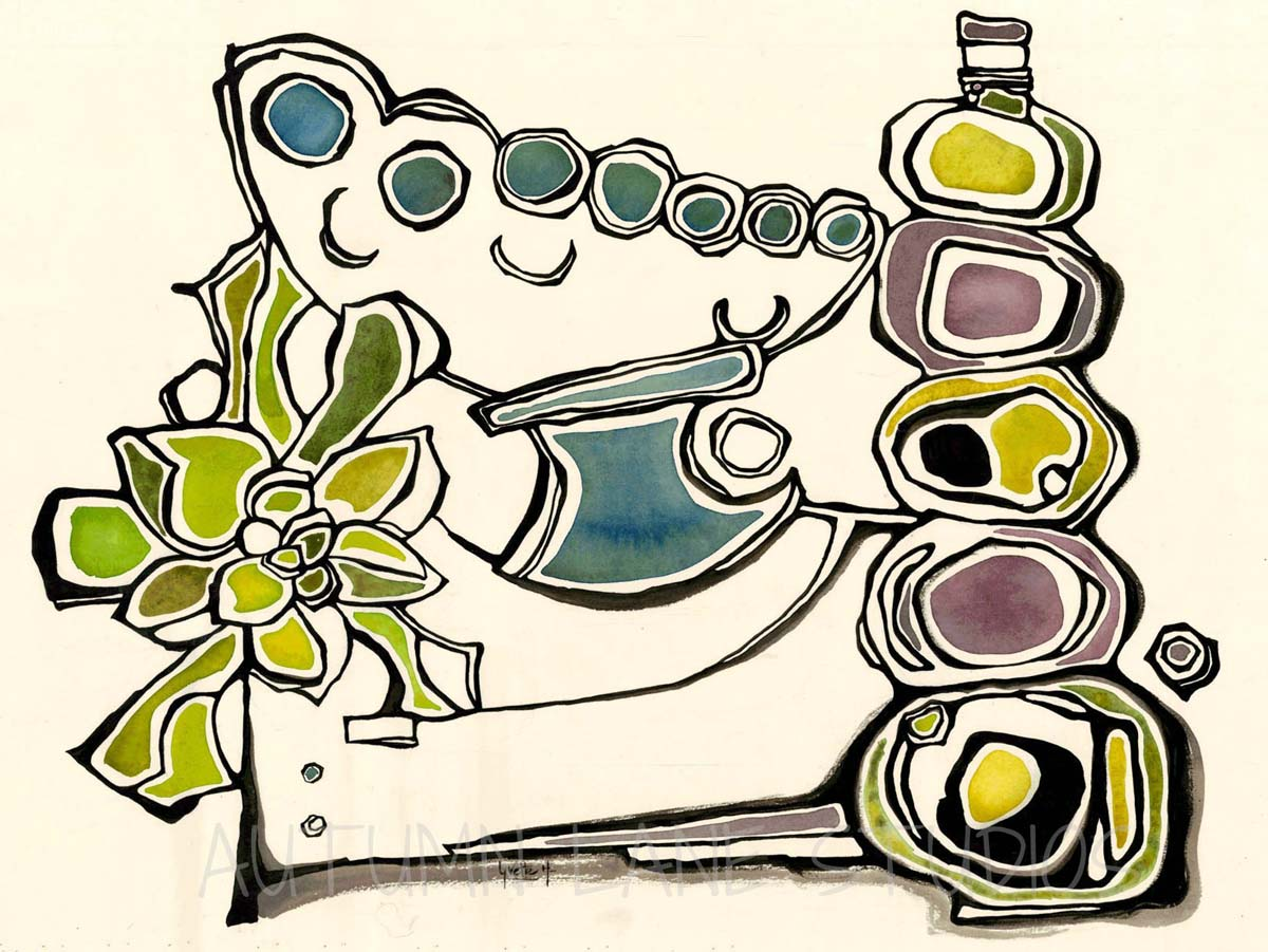 Ink & Watercolor Abstract Still Life