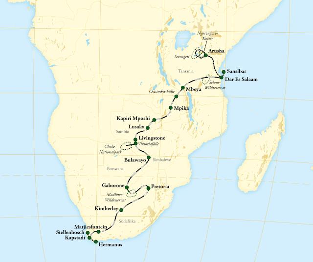 Rovos Rail Afrika Map