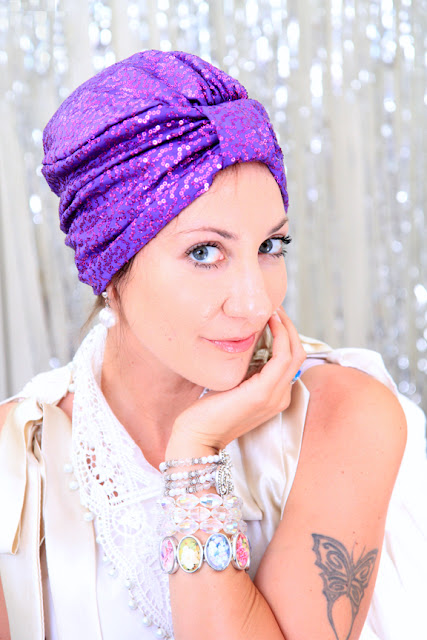 Sequin Turban in Purple by Mademoiselle Mermaid