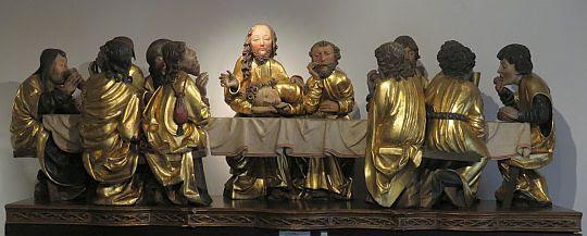 Ostatnia Wieczerza (kopie rzeźb z podstawy ołtarza głównego w kościele św. Jakuba w Lewoczy).