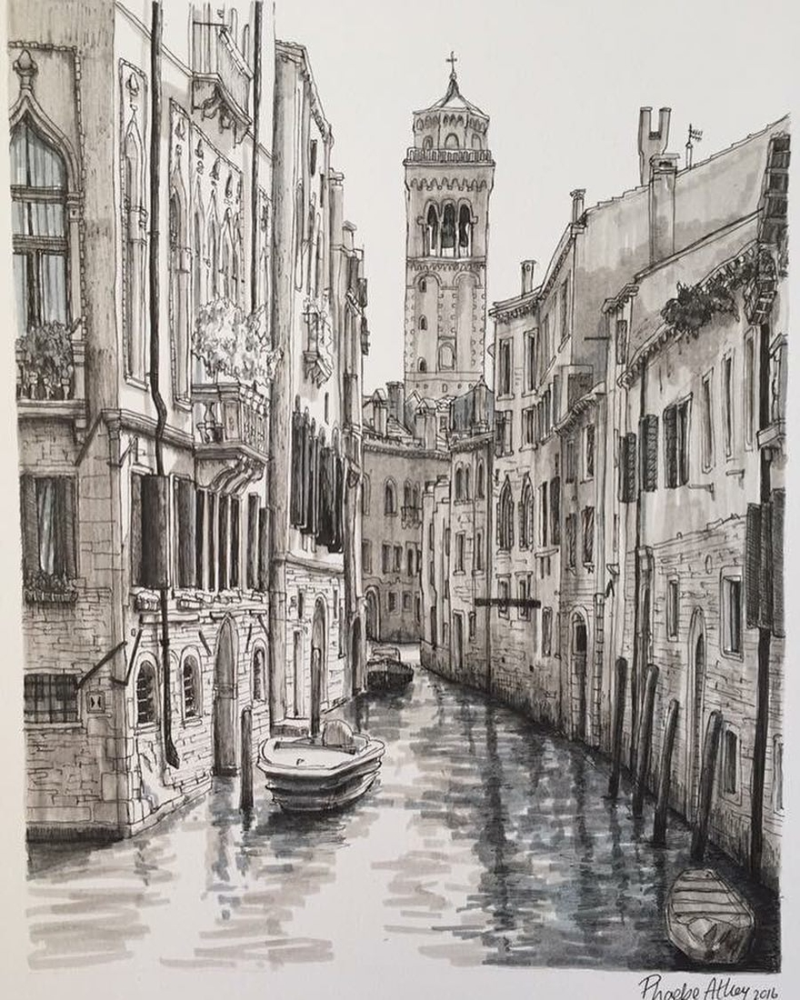 08-Venice-Phoebe-Atkey-Urban-Sketcher-Architectural-Building-Drawings-www-designstack-co