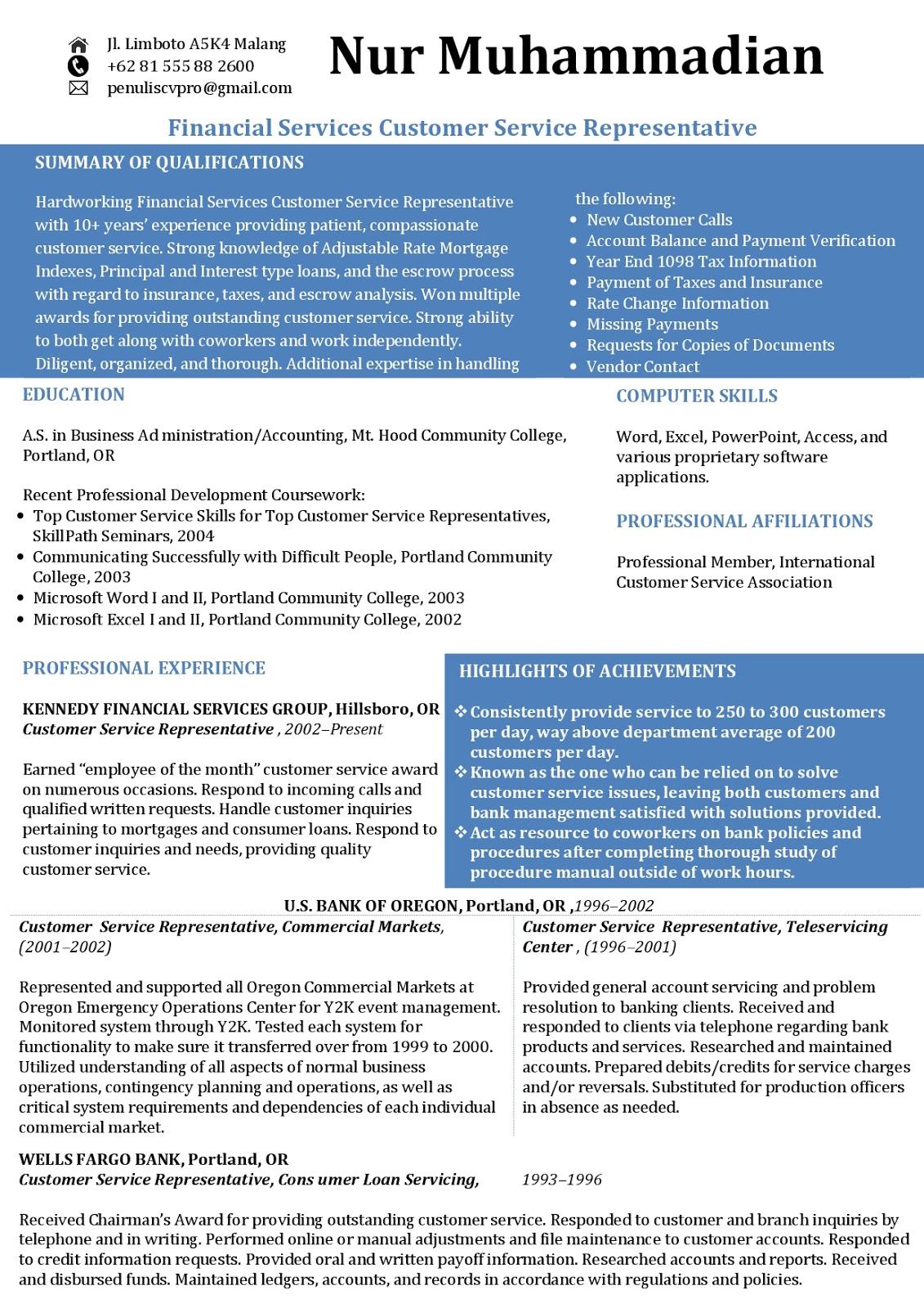 Contoh Curriculum Vitae Bahasa Inggris : Financial Services - Customer Service Representative