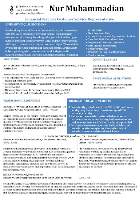 Contoh Curriculum Vitae Bahasa Inggris Financial Services Customer Service Representative