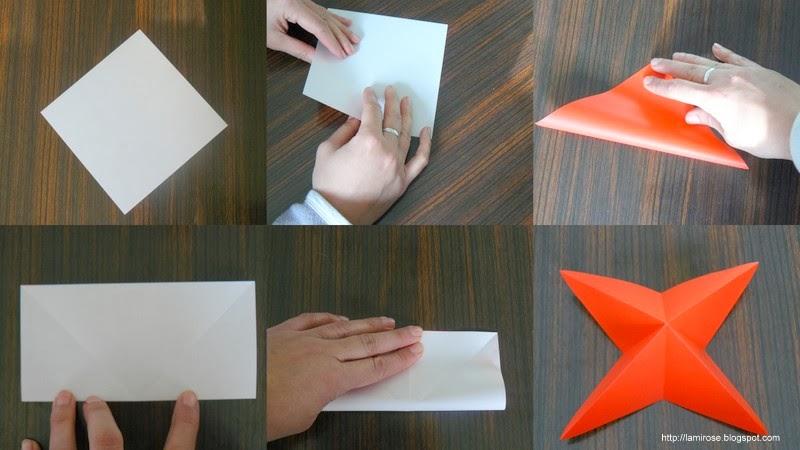Plier la feuille en triangle pour créer deux diagonales. Retourner la  feuille sur le côté opposé et plier en rectangle pour créer les arrêtes  centrales. 3df65a3b051