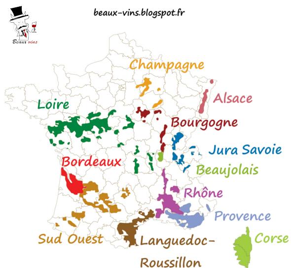 Carte vignobles vignoble France Beaux-vins oenologie dégustation