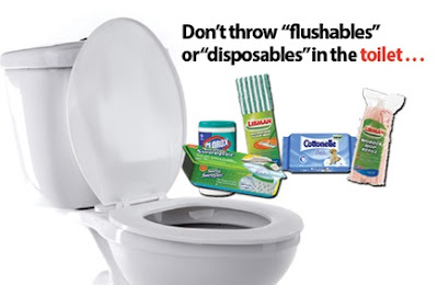 "Don't throw ""Flushables"" or ""Disposables"" in the toilet"
