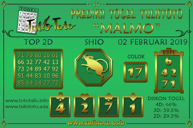 Prediksi Togel MALMO TULISTOTO 02 FEBRUARI 2019