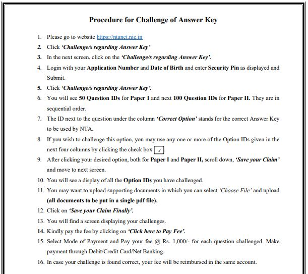 image : Procedure for Answer Key Challenge UGC NET DEC 2018 @ TeachMatters