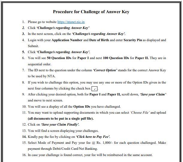 image : Procedure for Answer Key Challenge UGC NET DEC 2018 @ TeachMatters