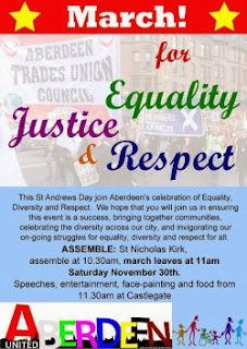 Come along to the St Andrews Day March and Rally for Equality, Justice and Respect on 30th Nov in Aberdeen