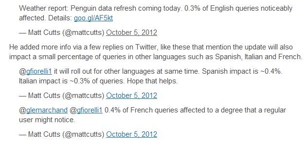 Một số ngôn ngữ chịu tác động của Google Penguin