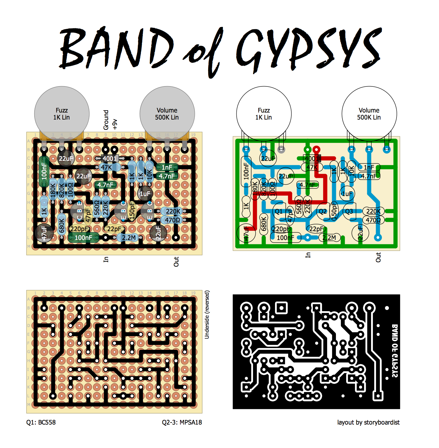 perf and pcb effects layouts dunlop band of gypsys fuzz face. Black Bedroom Furniture Sets. Home Design Ideas