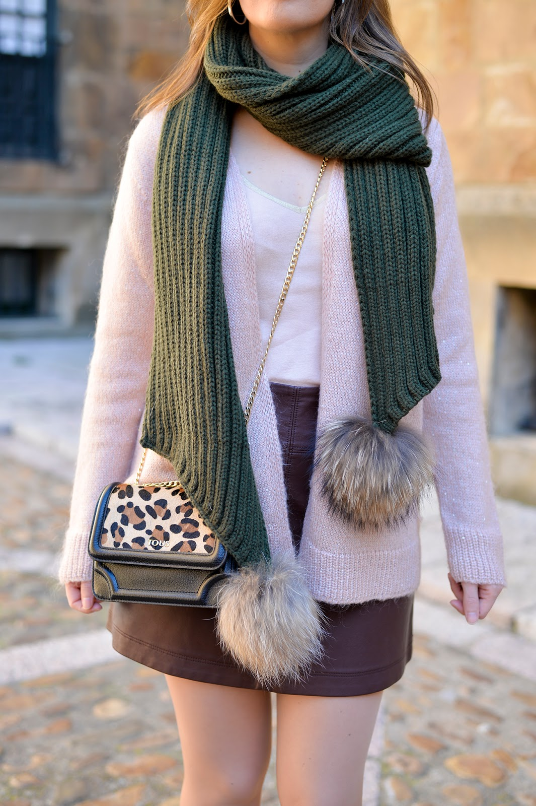Pom-pom Scarf & Neutral Tones fashion blogger