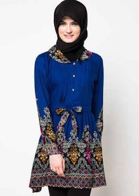 model atasan batik wanita muslimah modis