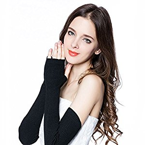 Huluwa Women's Arm Sleeves 100% Wool Cashmere Long Fingerless Gloves