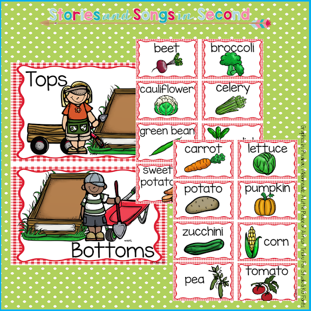 Primary grade students will love comparing and contrasting both the character traits of Bear and Hare, and the vegetables growing in their garden, using Janet Stevens' TOPS AND BOTTOMS as a mentor text.