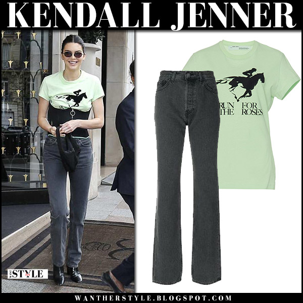 Kendall Jenner in light green tee and dark grey jeans yeezy model street style april 3