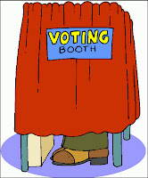 A cartoon of a person in a voting booth.