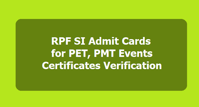 RPF SI Admit Cards/Call Letters