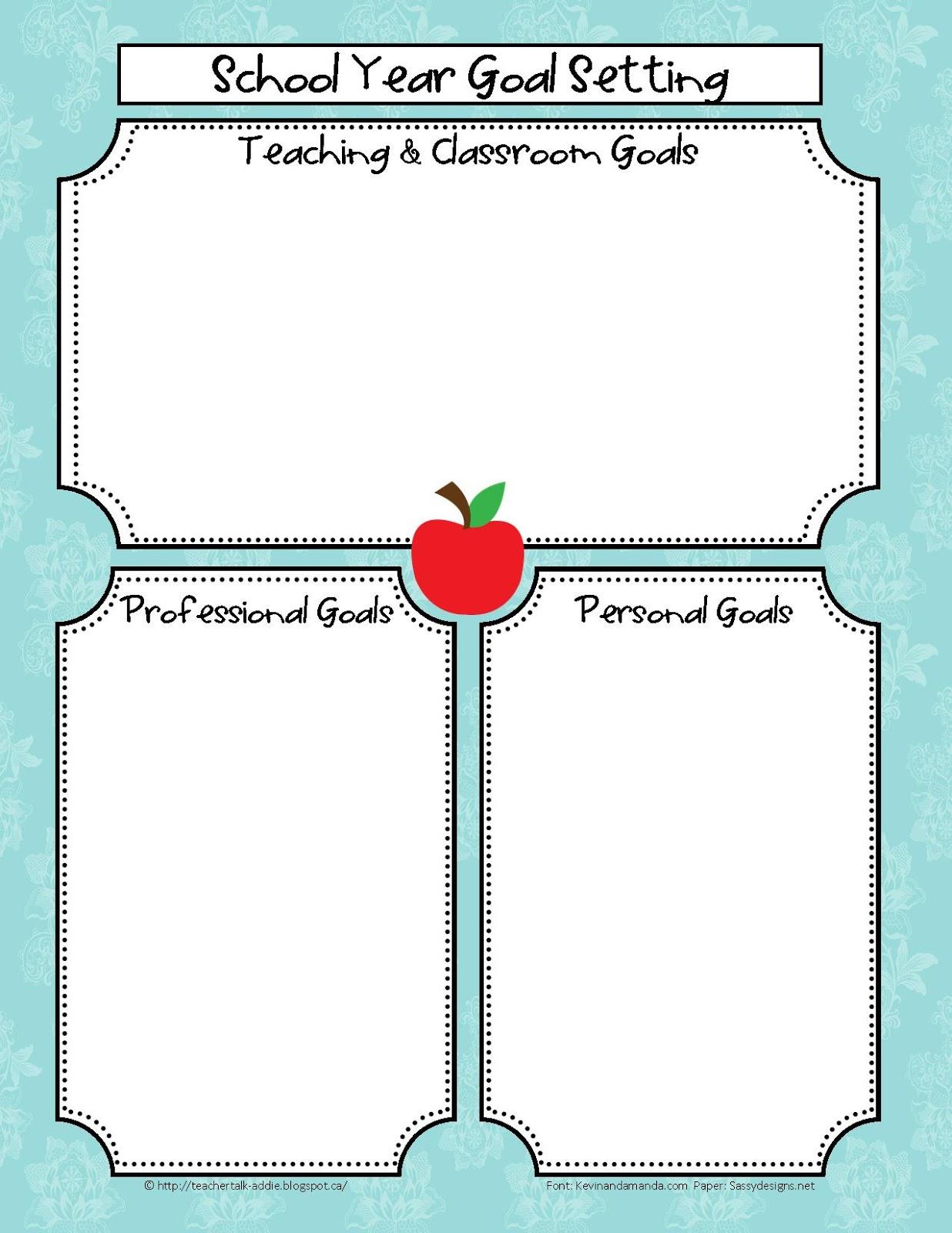Classroom Freebies Too Teacher Goal Setting
