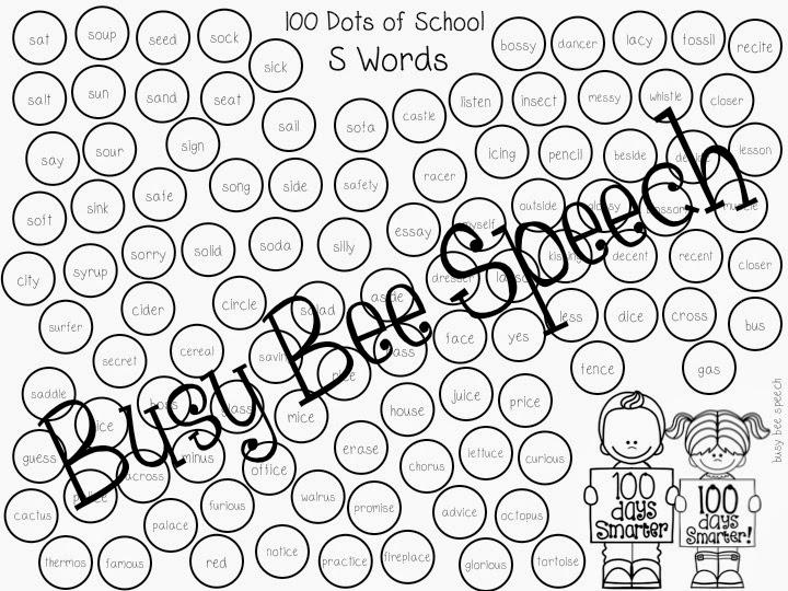 Busy Bee Speech: 100 DOTS of School with a Freebie!