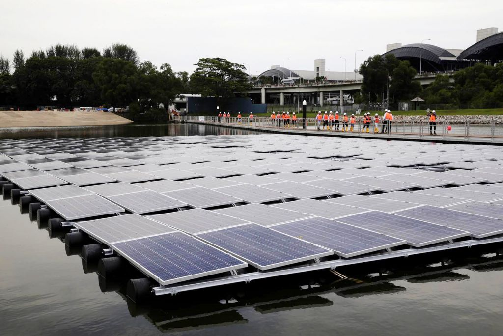 One out of ten of the floating solar systems at Tengeh Reservoir, now home to the world's largest floating solar test-bed, beside the Tuas Checkpoint.