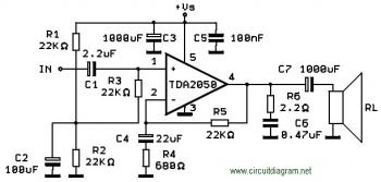 TDA2050 Bridge Amplifier Schematic diagram