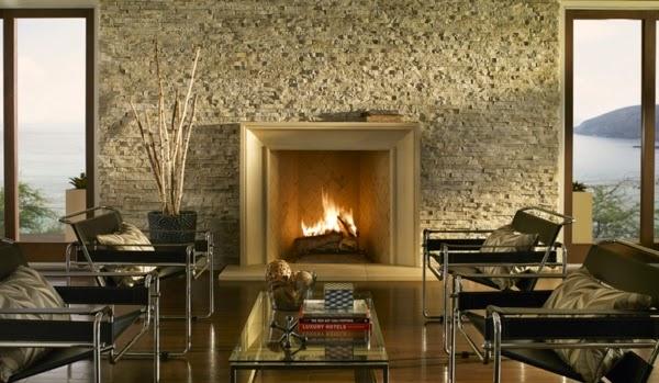 salón paredes de piedra