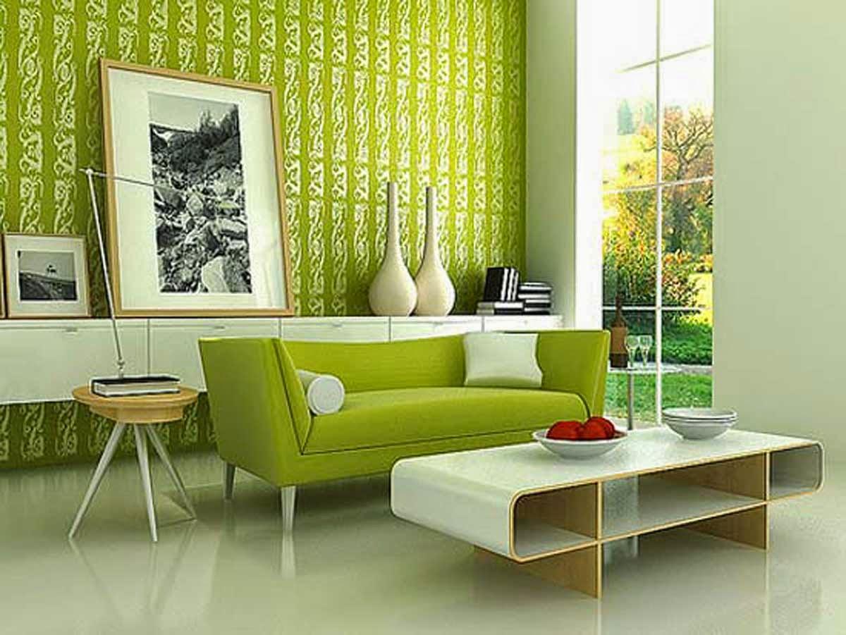 Gambar Wallpaper Dinding Ruang Tamu Minimalis Modern Foto Desain