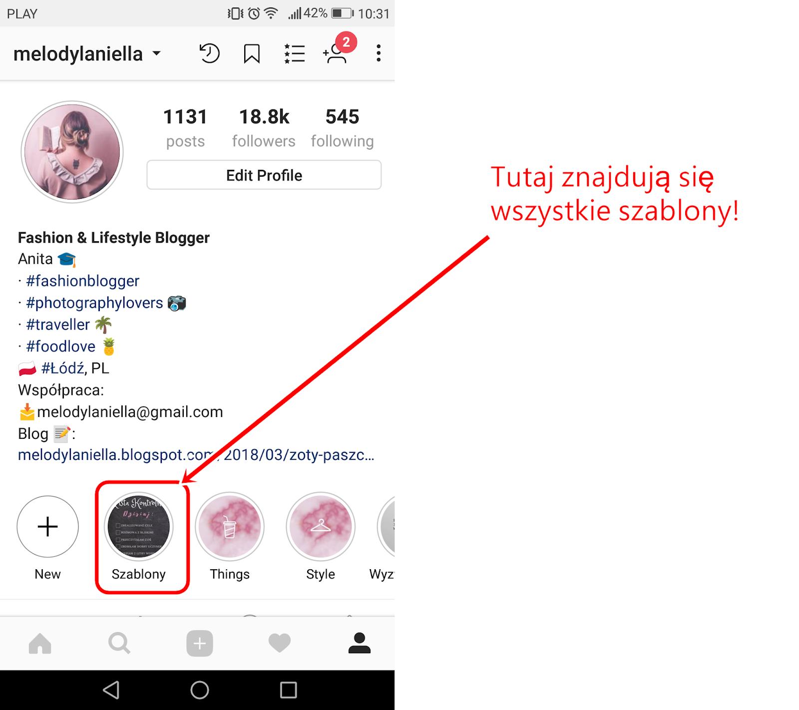 darmowe szablony templates na instagram instastory hasztagi na polski instagram ciekawe konta lifestyle blog melodylaniella