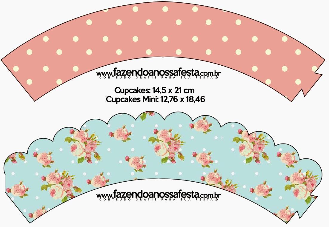 Wrappers para Cupcake de Shabby Chic en Rosa y Celeste.