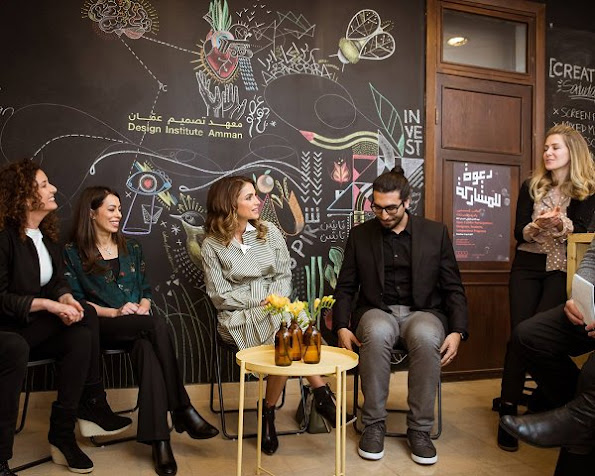 Queen Rania of Jordan visited the Design Institute Amman (DIA) in support of Jordan's design industry