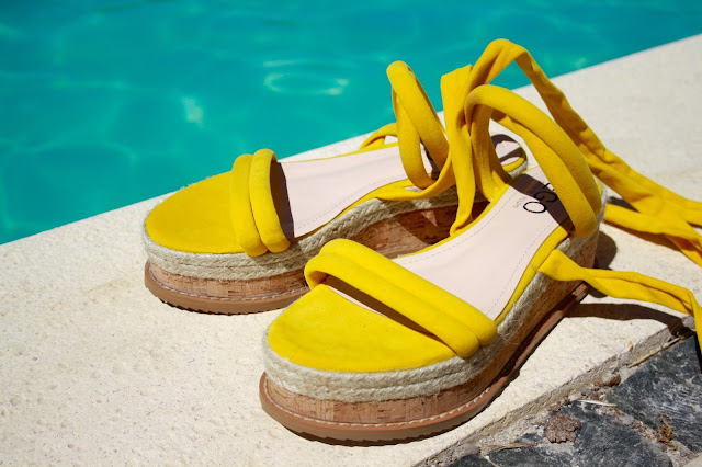 Whisper Lace Up Espadrille Flatform in Yellow Faux Suede Ego Shoes
