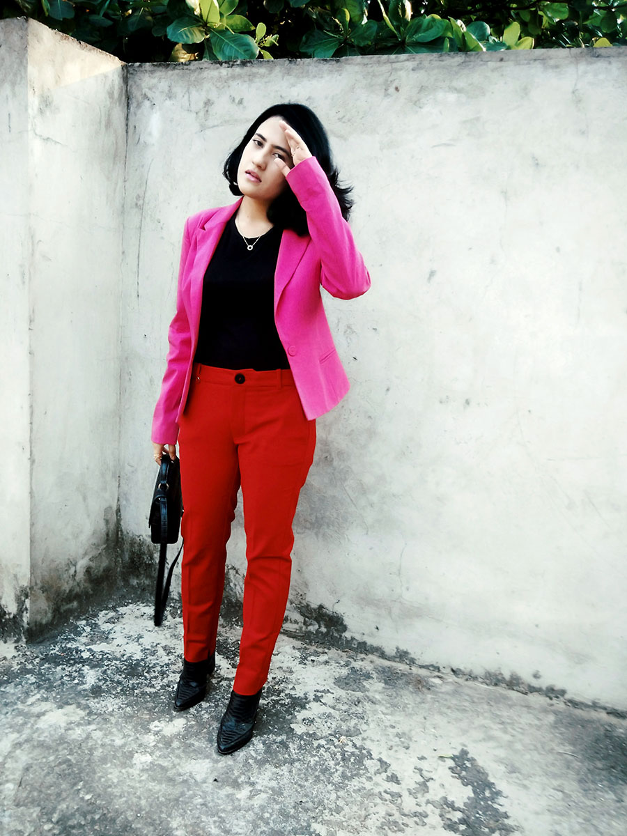 Zarablacktop,Mango Red trousers,Only womens pink blazer,Zara bag,Mango women's blackBoots