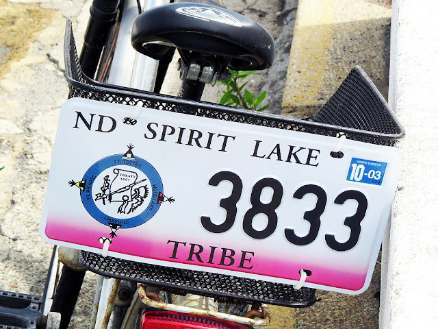 Spirit Lake Tribe plate on a bicycle, Via del Molo Mediceo, Livorno