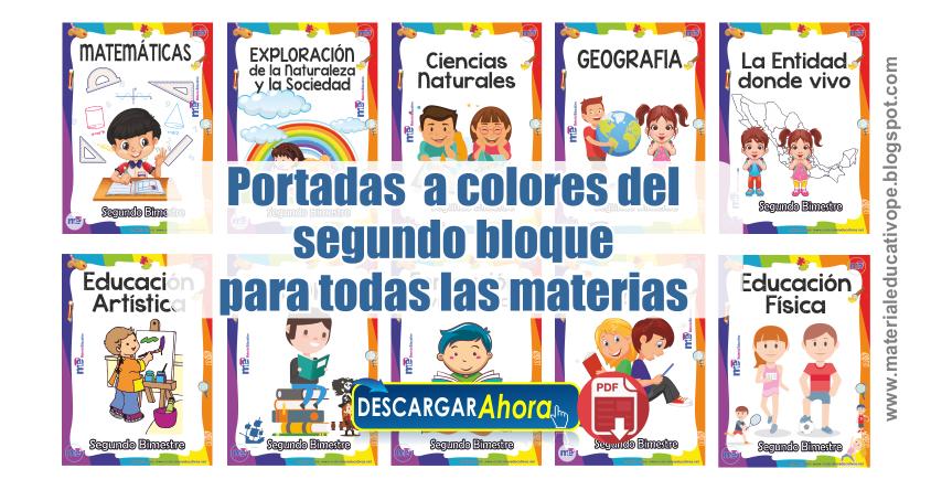 Caratulas Color Cuadernos Escolares Infantiles Dibujos Para 2: Portadas A Colores Del Segundo Bloque Para Todas Las
