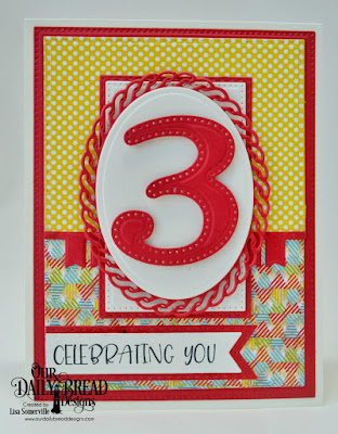 Our Daily Bread Designs Stamp Set: Celebrating You, Paper Collections: Birthday Bash, Birthday Brights, Custom Dies: Pierced Rectangles, Double Stitched Rectangles, Ovals, Layered Lacey Ovals, Pennant Flags, Double Stitched Pennant Flags, Large Numbers, Bitty Borders