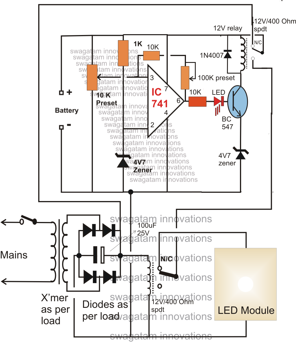 Led Lamp Driver Circuit Diagram 2004 Dodge Neon Engine Make This Automatic 10 Watt To 1000 Emergency