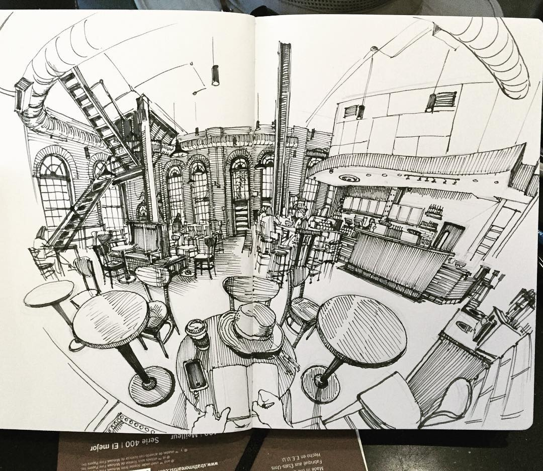 18-Starbucks-Paul-Heaston-Urban-Sketcher-Inserts-Himself-in-the-Drawing-www-designstack-co