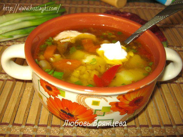 суп рассольник на курином бульоне
